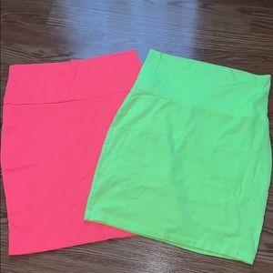 Neon Bodycon Skirts